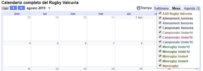 Calendario Luglio 2007.Calendario Asd Rugby Valcuvia